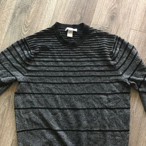 Men's Striped casual work pullover sweater Large